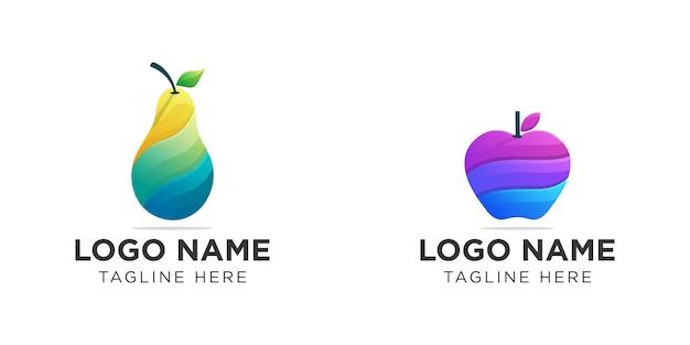 Logo De Fruits Colorés Collection Vecteur Premium