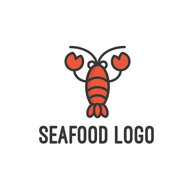 Logo de fruits de mer isolé en blanc Vecteur Premium