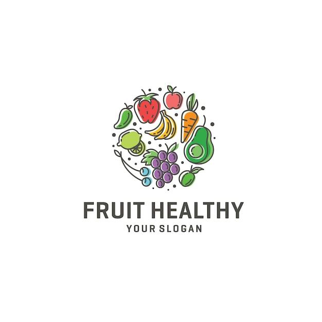 Logo de fruits sains Vecteur Premium