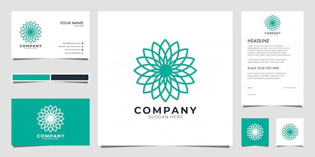 Logo De Géométrie De Fleur. Les Logos Peuvent être Utilisés Pour Le Spa, Salon De Beauté, Décoration, Boutique. Et Carte De Visite Vecteur Premium