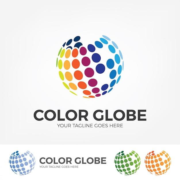 Logo globe avec des points colorés. Vecteur Premium
