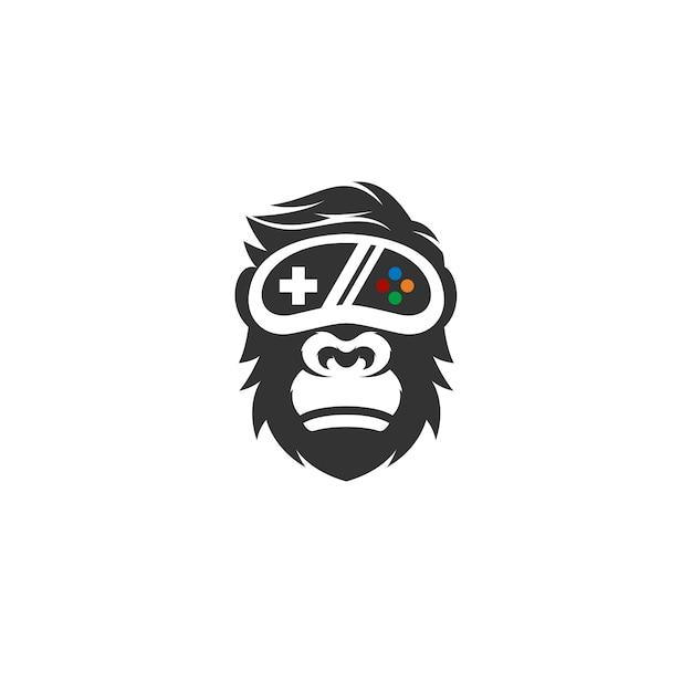 Logo de gorille geek Vecteur Premium