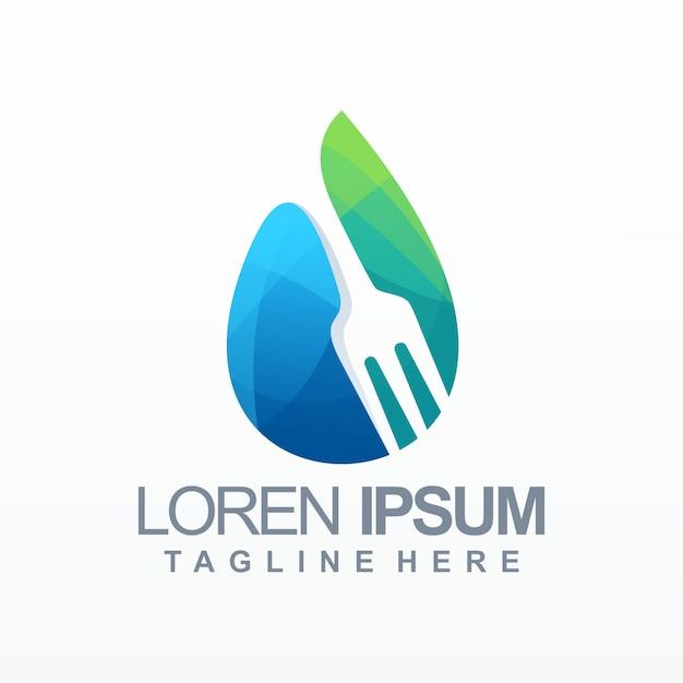 Logo de gradient alimentaire de l'eau Vecteur Premium