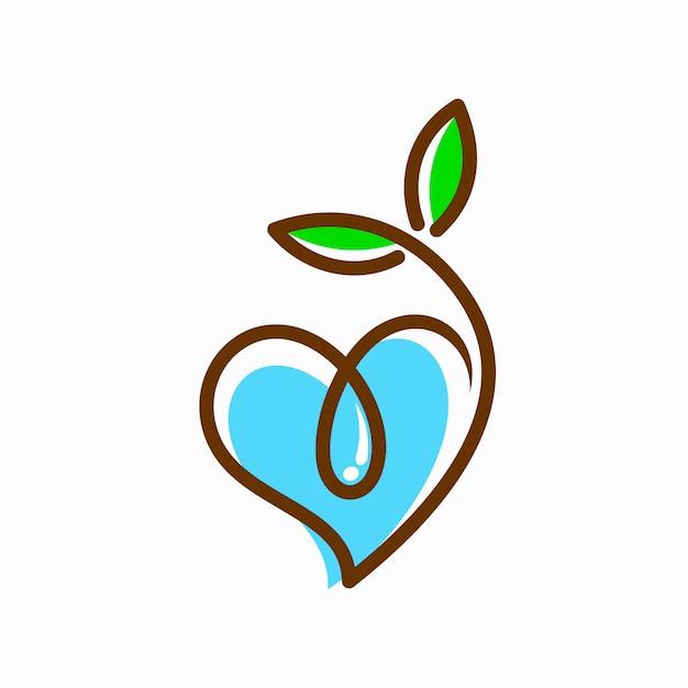 Logo de graines et d'eau qui forme le coeur Vecteur Premium
