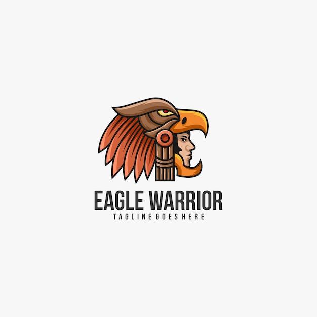 Logo De Guerrier Aigle Vecteur Premium