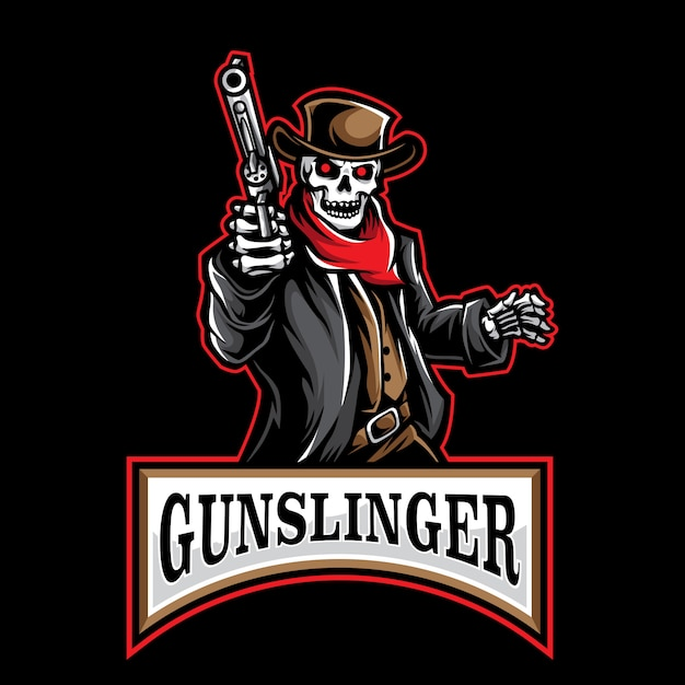 Logo de gunslinger Vecteur Premium