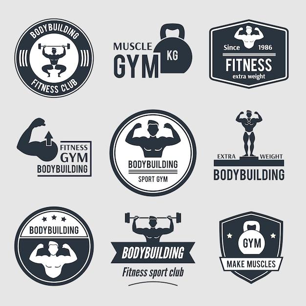 Logo de gym de musculation set Vecteur Premium