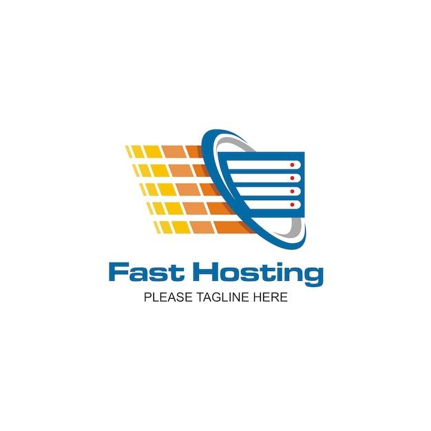 Logo d'hébergement rapide Vecteur Premium