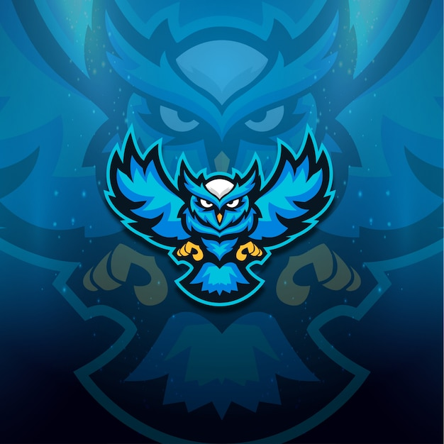Logo Hibou Bleu Esport Vecteur Premium