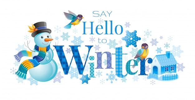 Logo d'hiver avec bonhomme de neige dessin animé, oiseaux et jolie maison. carte de voeux. modèle abstrait. Vecteur Premium