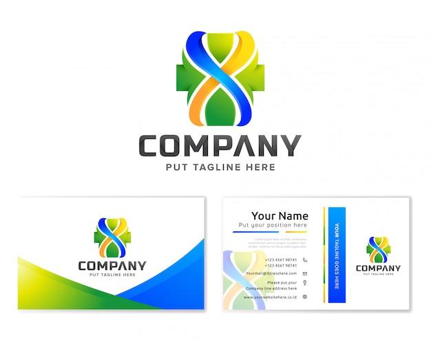 Logo d'hôpital médical modèle pour entreprise avec carte de visite Vecteur Premium