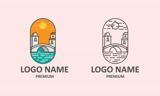 Logo de l'icône du coucher de soleil sur le pont Vecteur Premium