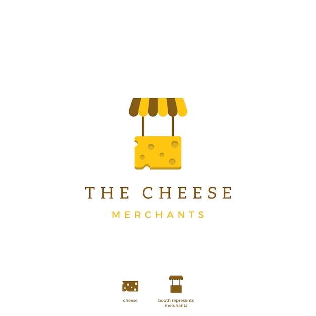 Logo d'icône de marchand de fromage Vecteur Premium