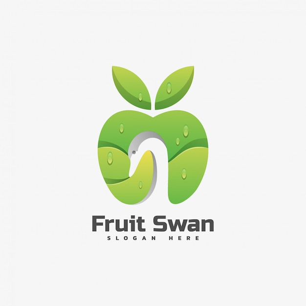 Logo Illustration Fruit Swan Gradient Style Coloré. Vecteur Premium