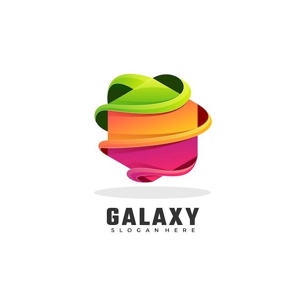 Logo Illustration Galaxy Gradient Style Coloré. Vecteur Premium