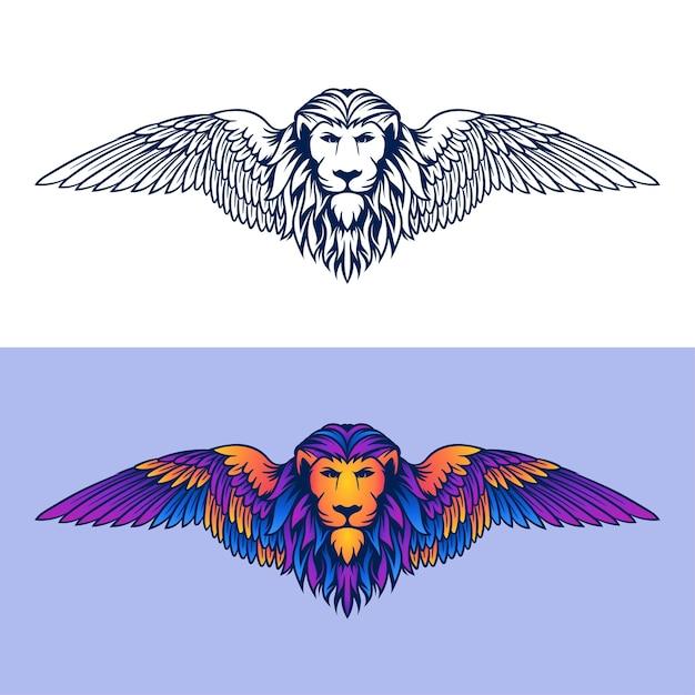 Logo D'illustration Lion De Babylone Vecteur Premium