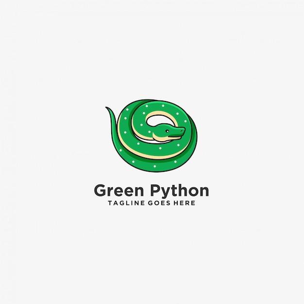 Logo D'illustration De Mascotte De Couleur Verte Python. Vecteur Premium