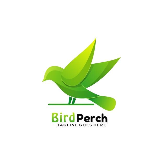 Logo Illustration Oiseau Perche Gradient Style Coloré. Vecteur Premium