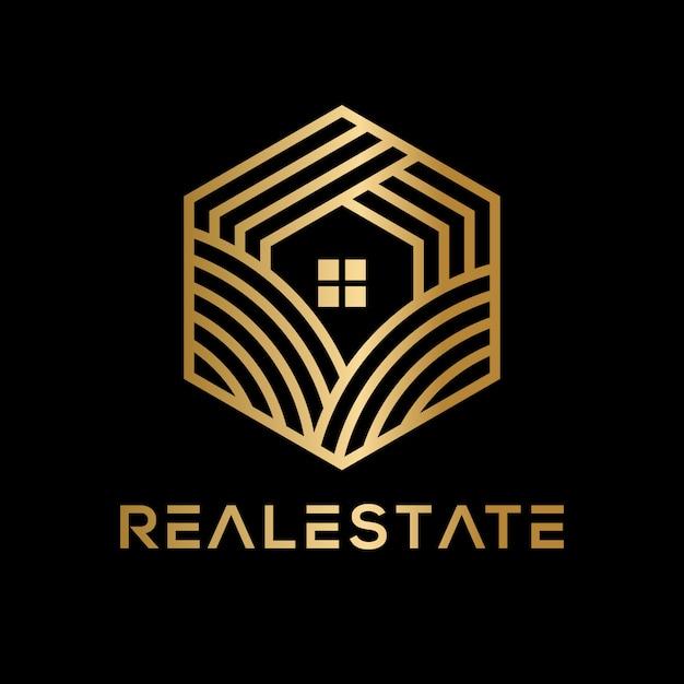 Logo de l'immobilier géométrique de luxe Vecteur Premium