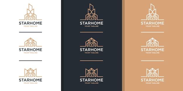 Logo Immobilier Avec Style Art étoile Et Ligne Vecteur Premium