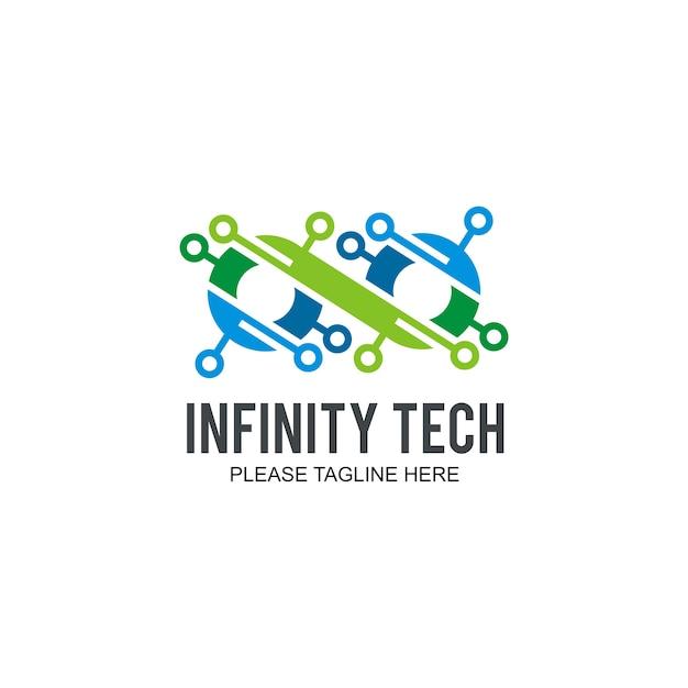Logo infinity tech Vecteur Premium