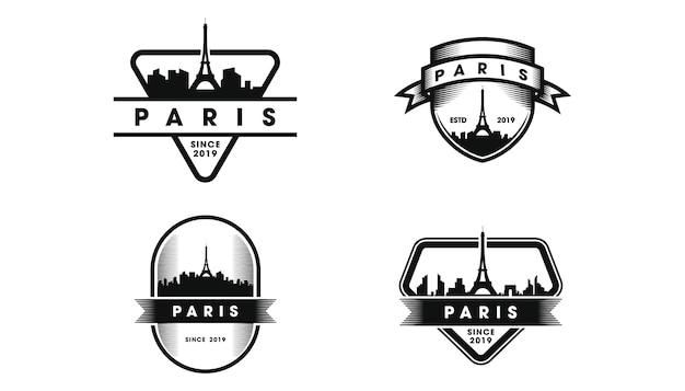 Logo De L'insigne De Paris. Silhouette De Skyline Et Monuments De Paris Vecteur Premium