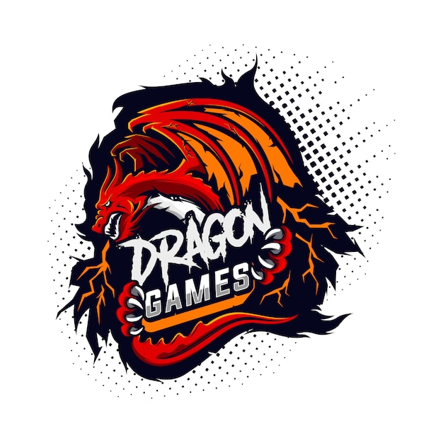 Logo De Jeu Dragon Vecteur Premium