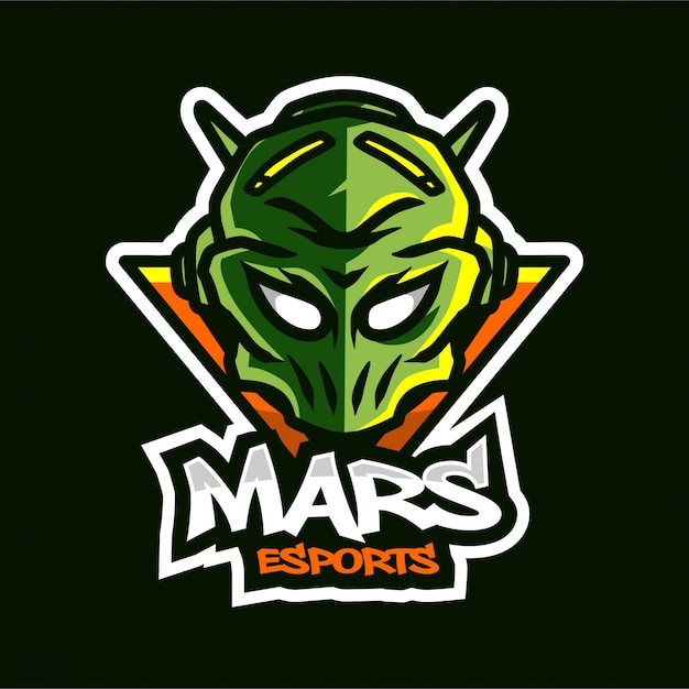 Logo de jeu de la mascotte alien mars Vecteur Premium