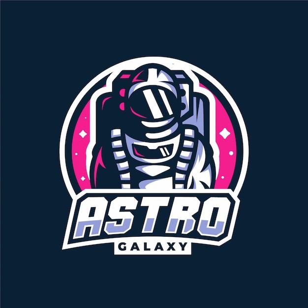 Logo de jeu mascotte astronaute espace galaxie Vecteur Premium
