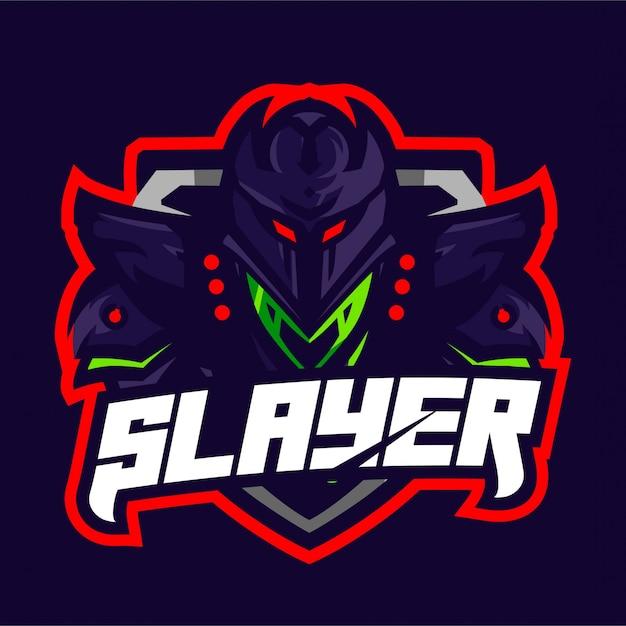 Logo de jeu mascotte chevalier slayer Vecteur Premium