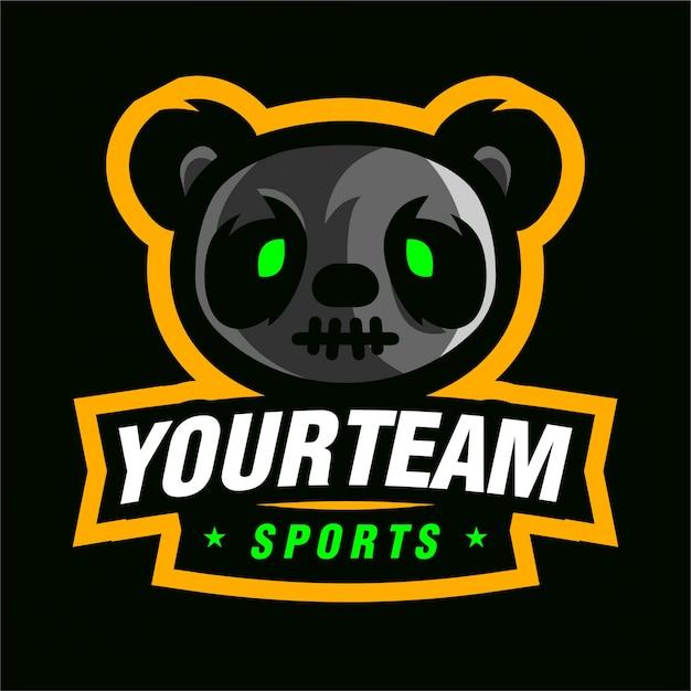 Logo de jeu mascotte p panda Vecteur Premium