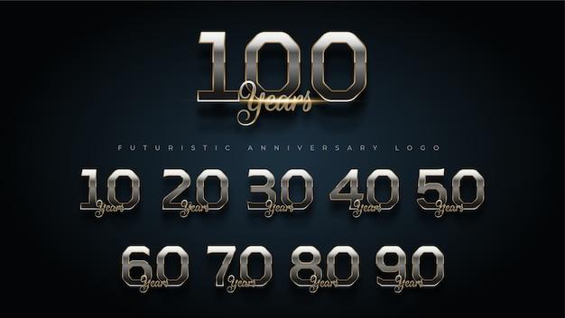 Vecteur Premium Logo De Jeu De Numeros Anniversaire Or Et Argent De Luxe De 100 Ans