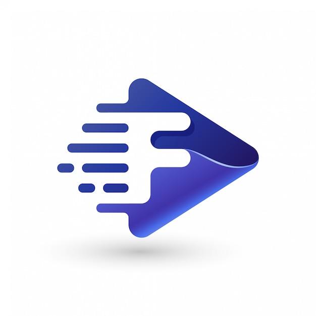 Logo de jeu rapide logo avec lettre f Vecteur Premium