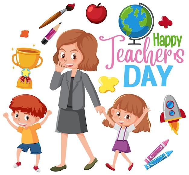 Logo De La Journée Des Enseignants Heureux Avec Les Enseignants Et Les étudiants Vecteur Premium