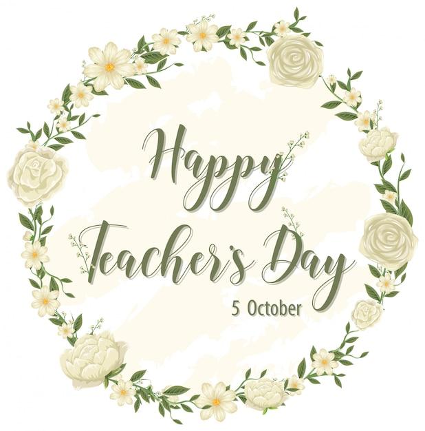 Logo De La Journée Des Enseignants Heureux Avec Thème Floral Vecteur Premium