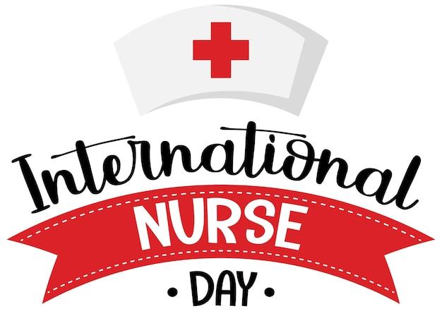 Logo De La Journée Internationale Des Infirmières Avec Bonnet D'infirmière Vecteur Premium