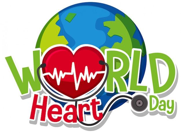 Logo De La Journée Mondiale Du Cœur Vecteur Premium