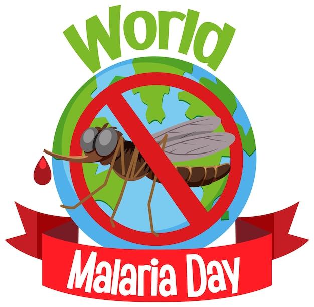 Logo De La Journée Mondiale Du Paludisme Ou Bannière Sans Moustique Sur Le Fond De La Terre Vecteur Premium