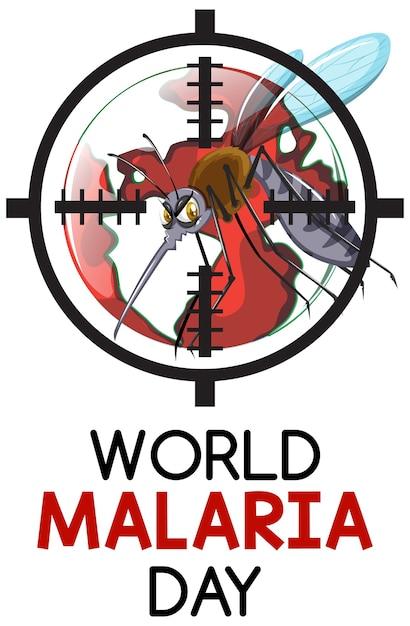 Logo De La Journée Mondiale Du Paludisme Ou Bannière Avec Signe De Moustique Vecteur gratuit