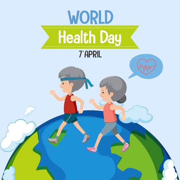 Logo De La Journée Mondiale De La Santé Vecteur Premium