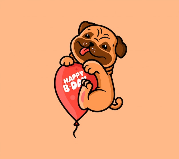 Le Logo Joyeux Anniversaire Avec Chien Et Ballon. Logotype Avec Pug Drôle Et Phrase De Lettrage. Vecteur Premium
