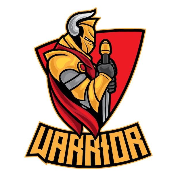 Logo Knight Warrior Esport Isolé Sur Blanc Vecteur Premium