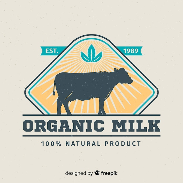 Logo lait silhouette vache Vecteur gratuit