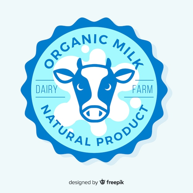 Logo de lait tête de vache plate Vecteur gratuit