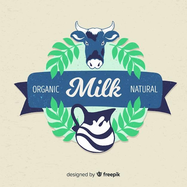 Logo lait de vache à feuilles Vecteur gratuit