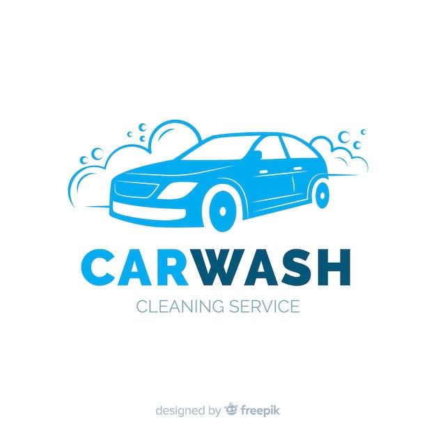 Logo de lave-auto plat bleu Vecteur gratuit