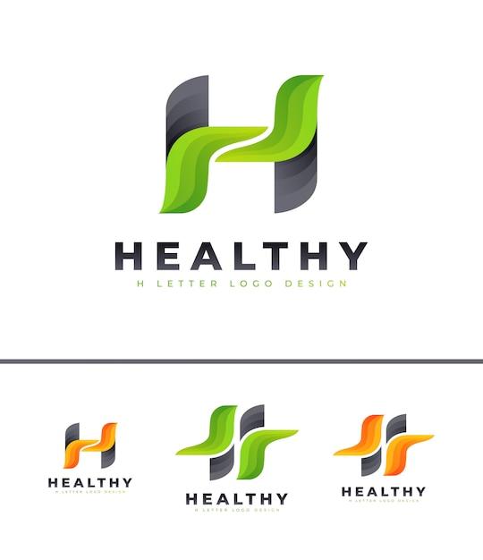 Logo De Lettre H Vert Vecteur Premium