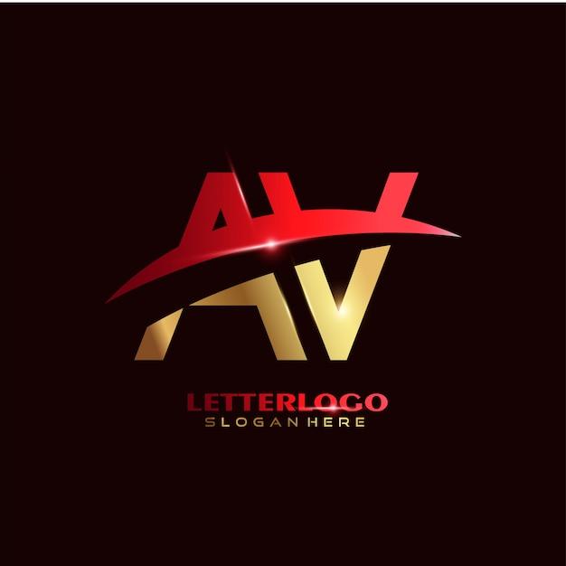 Logo De Lettre Initiale Av Avec Design Swoosh Pour Logo Entreprise Et Entreprise. Vecteur gratuit