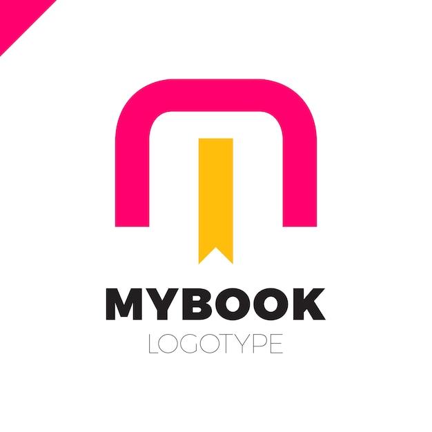 Logo De Lettre M Avec Signet Et Livre Symbole Icone Design
