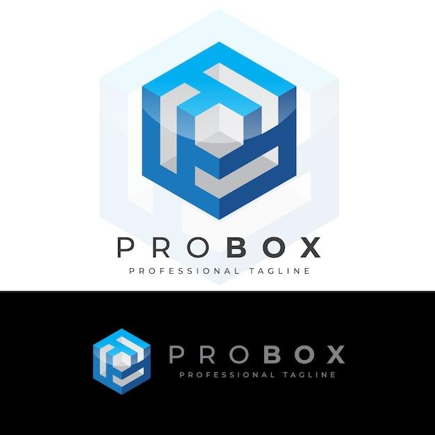 Logo de la lettre pro box p Vecteur Premium